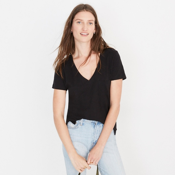 b2bad36b6bb7 Madewell Tops | Whisper Cotton Vneck Pocket Tee | Poshmark